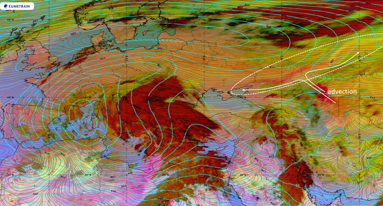 Meteosat-8 Dust RGB, 26 March 00:00 UTC, with ECMWF 300 hPa geopotential height (cyan) and 850hPa streamlines (red) overlaid