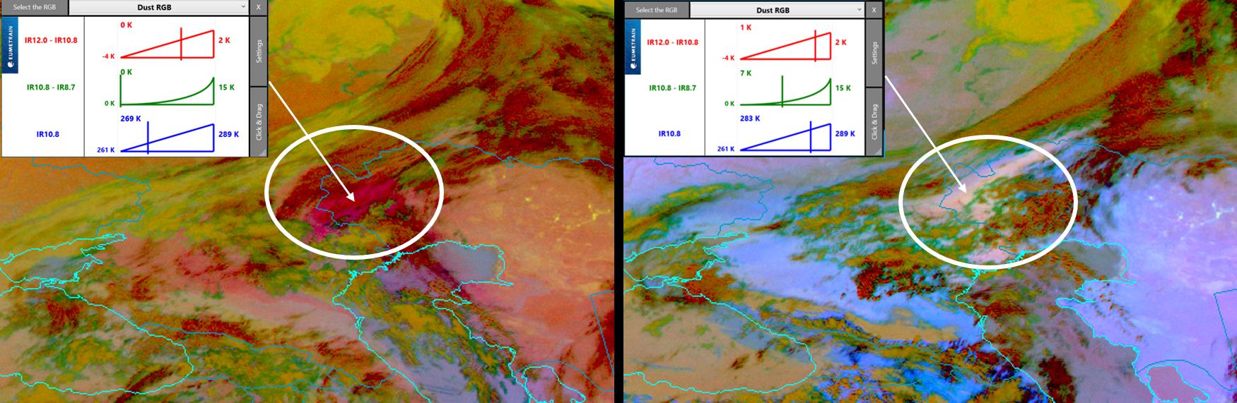 Meteosat-8 Dust RGB, 25 March, 02:00 UTC (left) and 09:00 UTC (right)