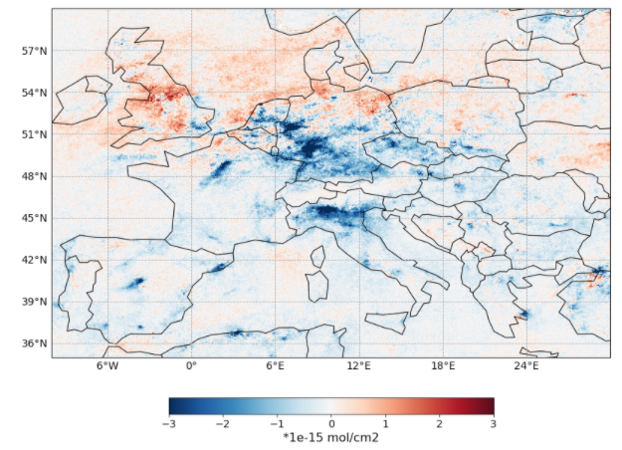 Sentinel 5p TROPOMI NO2 anomaly for March 2020. Reference period is 2019, due to the limited time coverage of the instrument.