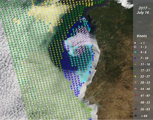 ASCAT winds and MODIS true colour RGB