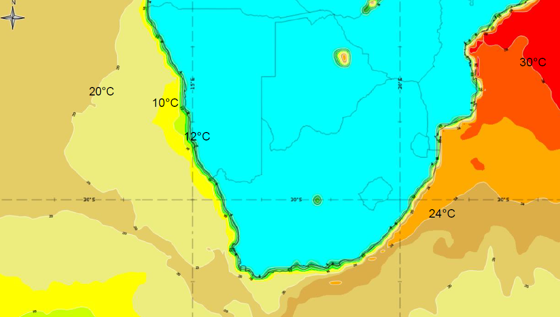 Sea surface temperature – as you can see there is a significant difference between the Agulhas Current and the Benguela Current. Source: EUMeTrain ePort.