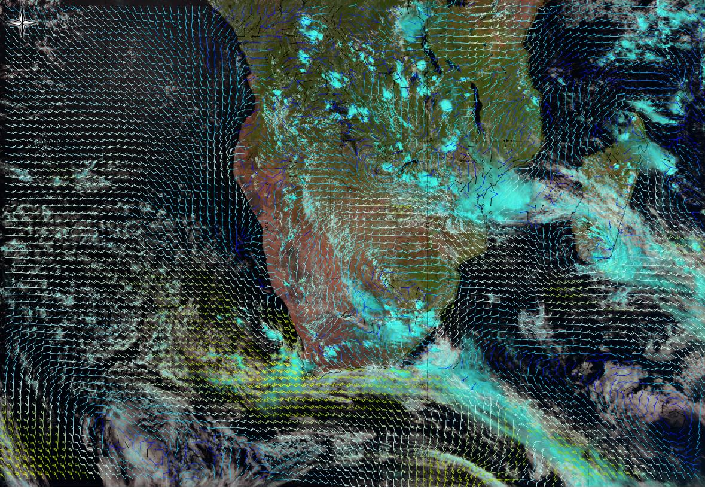 Natural Colour RGB displaying the wind distribution, 19 Jan 2018. Source: EUMeTrain ePort