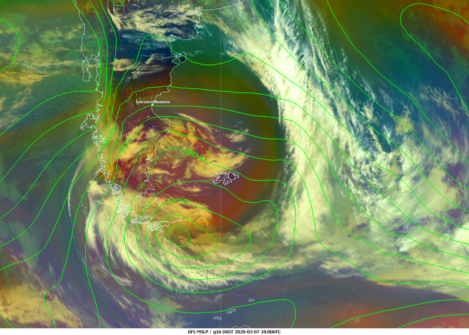 GOES-16 Airmass RGB with GFS MSLP overlaid, 7 March 18:00 UTC