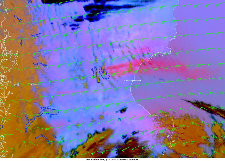 GOES-16 Dust RGB with GFS wind 950 hPa overlaid, 7 March 18:00 UTC