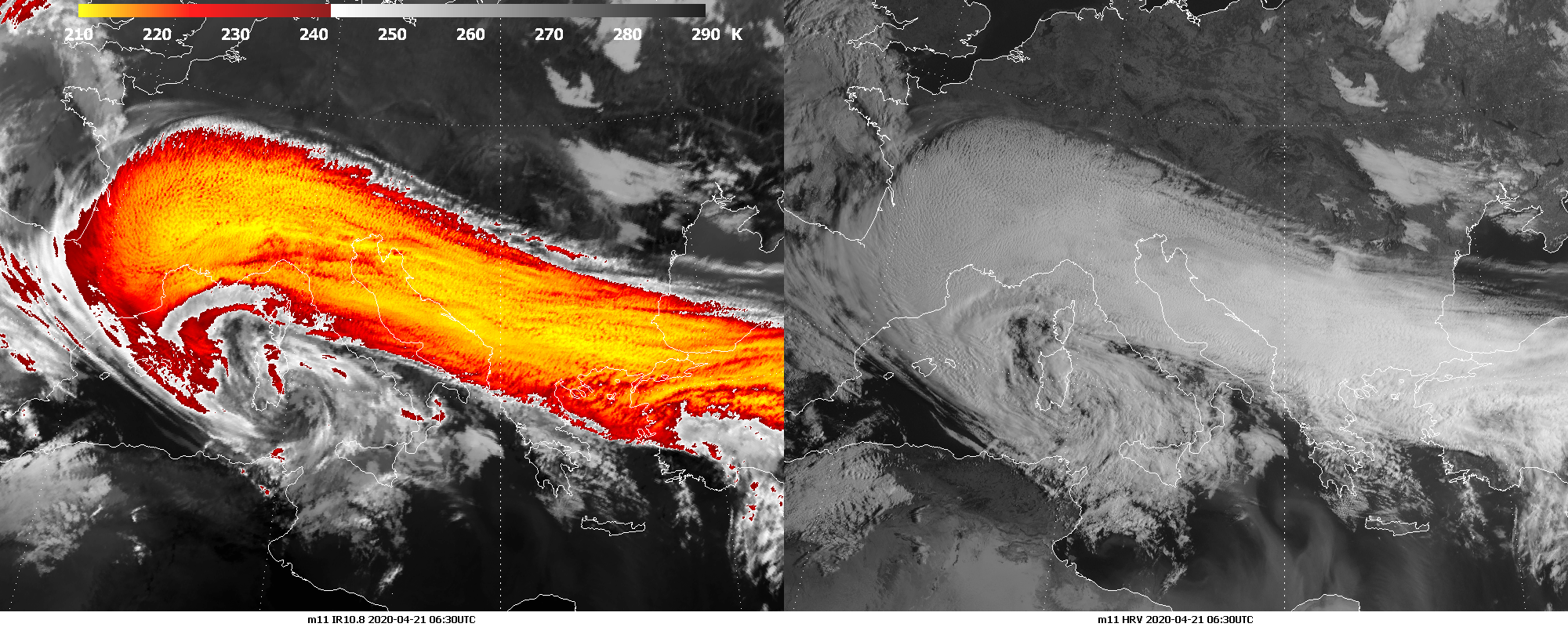 Meteosat 11 infrared (IR108) (left) and HRV (right), 21 April, 06:30 UTC