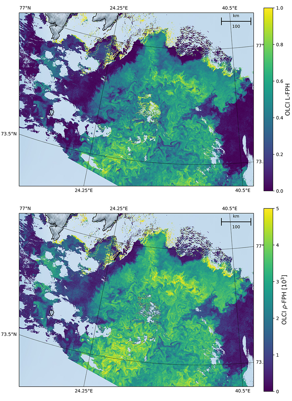 Figure 5: L-FPH (upper panel) and ρ-FPH (lower panel) on 5 July in the Barents Sea