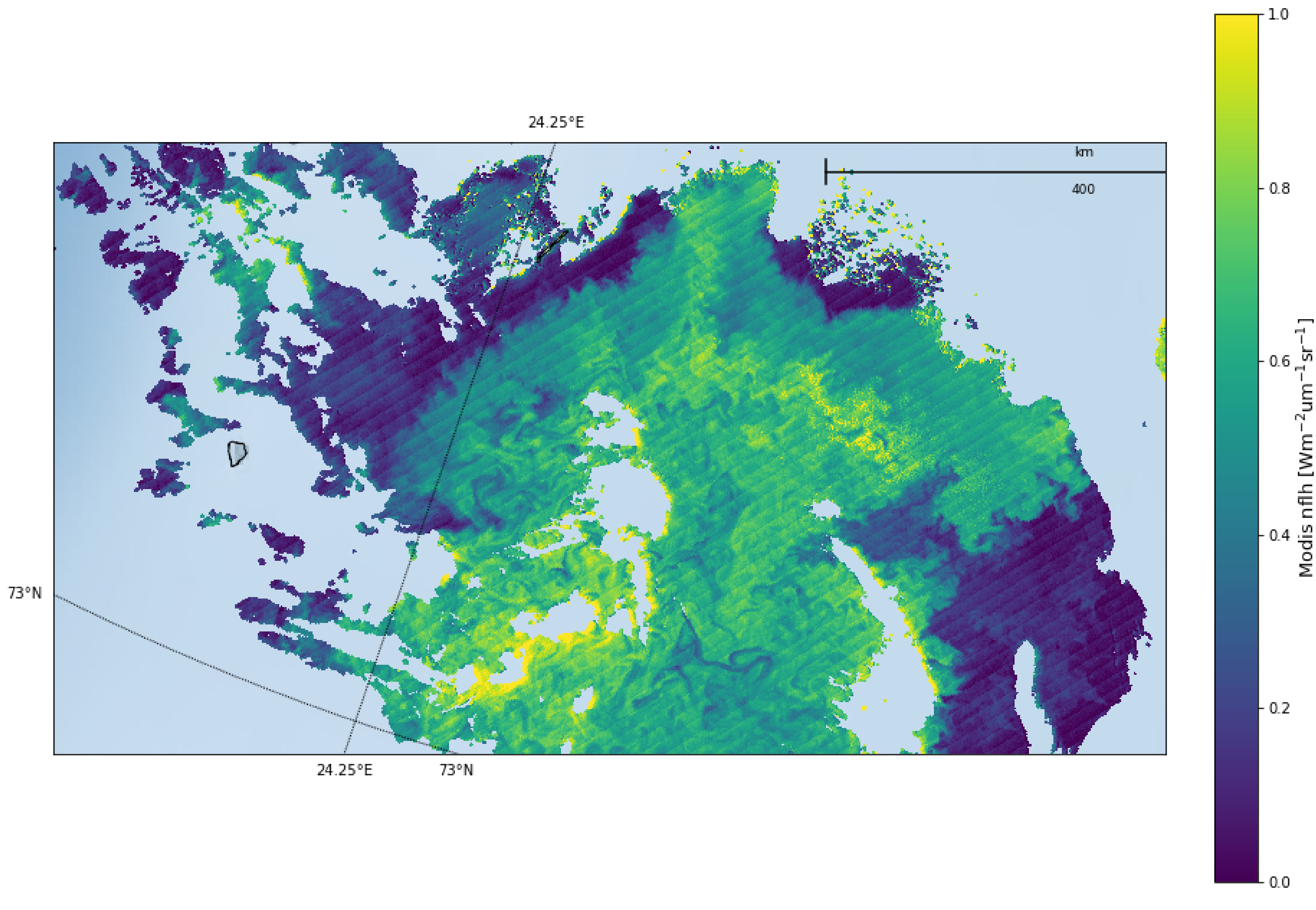 Figure 7: MODIS nFLH on 5 July, 2018 in the Barents Sea
