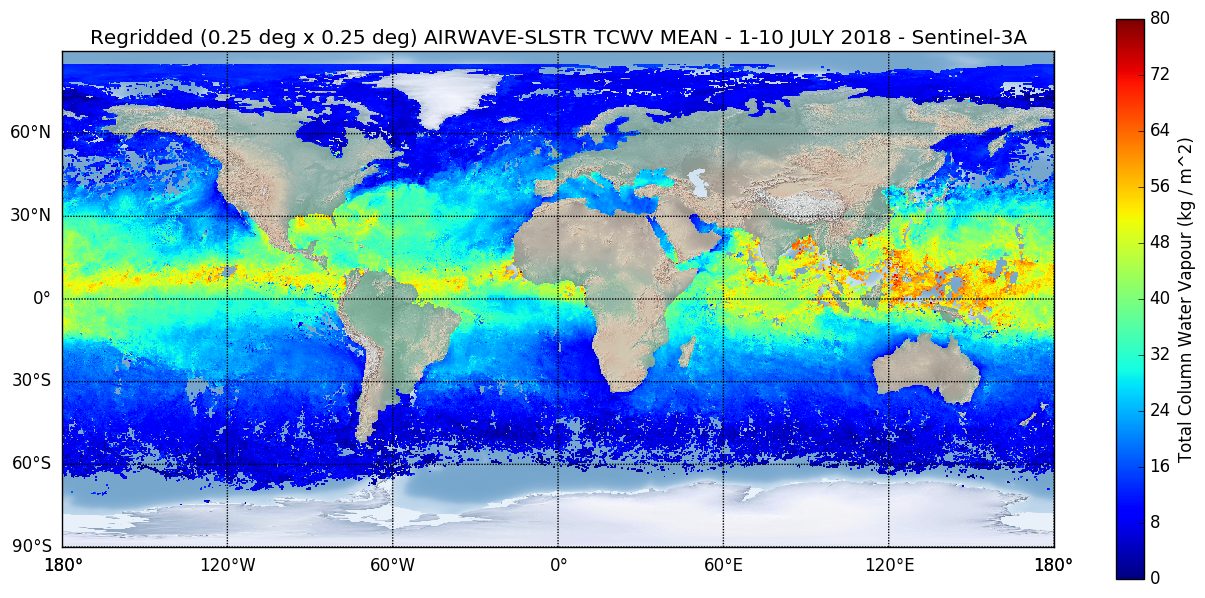Figure 1: Sentinel-3A TCWV Product, July 2018 average, re-gridded on 0.25° x 0.25° grid