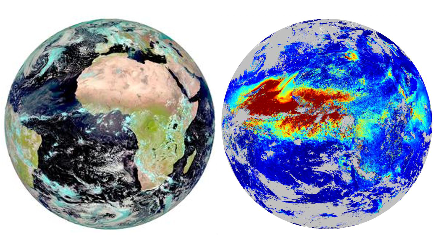 Figure 1: For March 30th, 2010, (left) SEVIRI RGB composite at noon and (right) daily AOD at 0.635 μm retrieved by AERUS-GEO