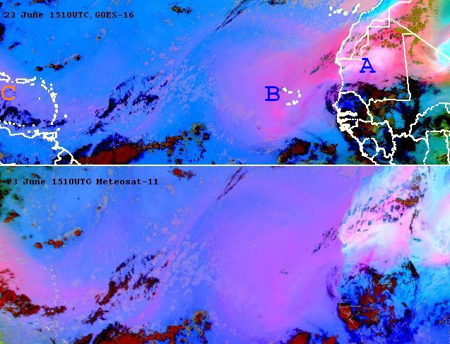 GOES-16 (above) and Meteosat-11 (below) tell different stories on dust on 23 June at 15:10 UTC. In the GOES image, large amounts of dust over the Caribbean go almost unnoticed to GOES (weak magenta hue), around the satellite vertical. Meteosat-11 SEVIRI Dust RGB shows large amounts of dust over the Caribbean on a very slanted view, while dust near Africa is less outstanding.
