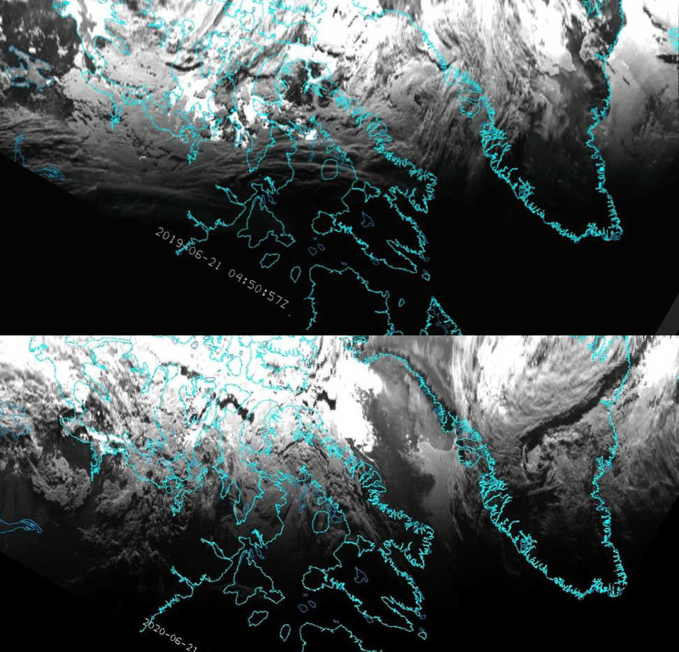 Comparisons of images on 21 June 2019 (top) and 2020 (bottom) at 04:50 UTC for channel 0.8 µm of ABI
