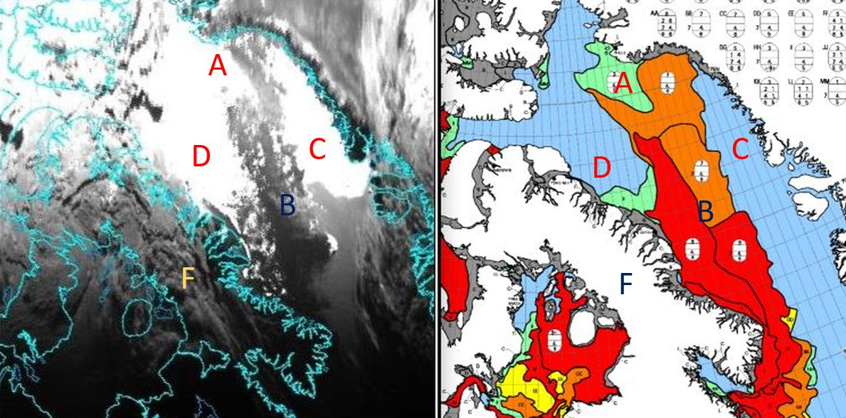 Comparison of GOES-16 ABI 0.8µm at 05:10UTC (left) with the ice concentration product of the Government of Canada (right) for 21 June 2020. Areas D and C show an anomalous liquid condition, whereas B is thick ice, not responsive to the sunglint geometry at that time. Quiet liquid surfaces offer perfect conditions for specular reflection of the mid-night sun at Baffin bay. Area B is thick ice, lacking flatness. E is similarly icy land, not regular for good reflection. Area A is of 10% ice concentration, which keeps it reflecting under both sunglint conditions and under normal illumination.