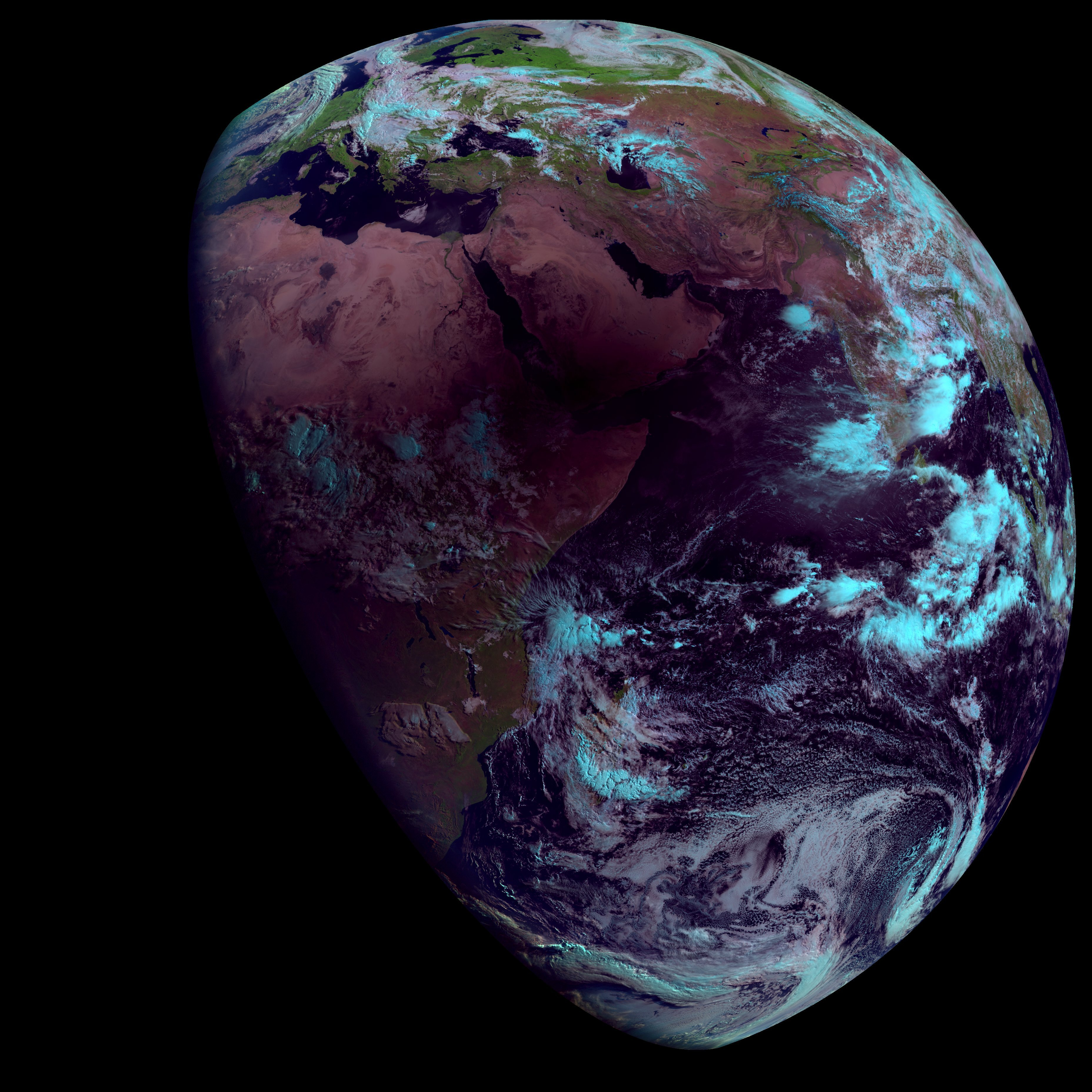 Shadow of the Moon as viewed from Meteosat-8, Natural Colour RGB, 21 June 05:00 UTC