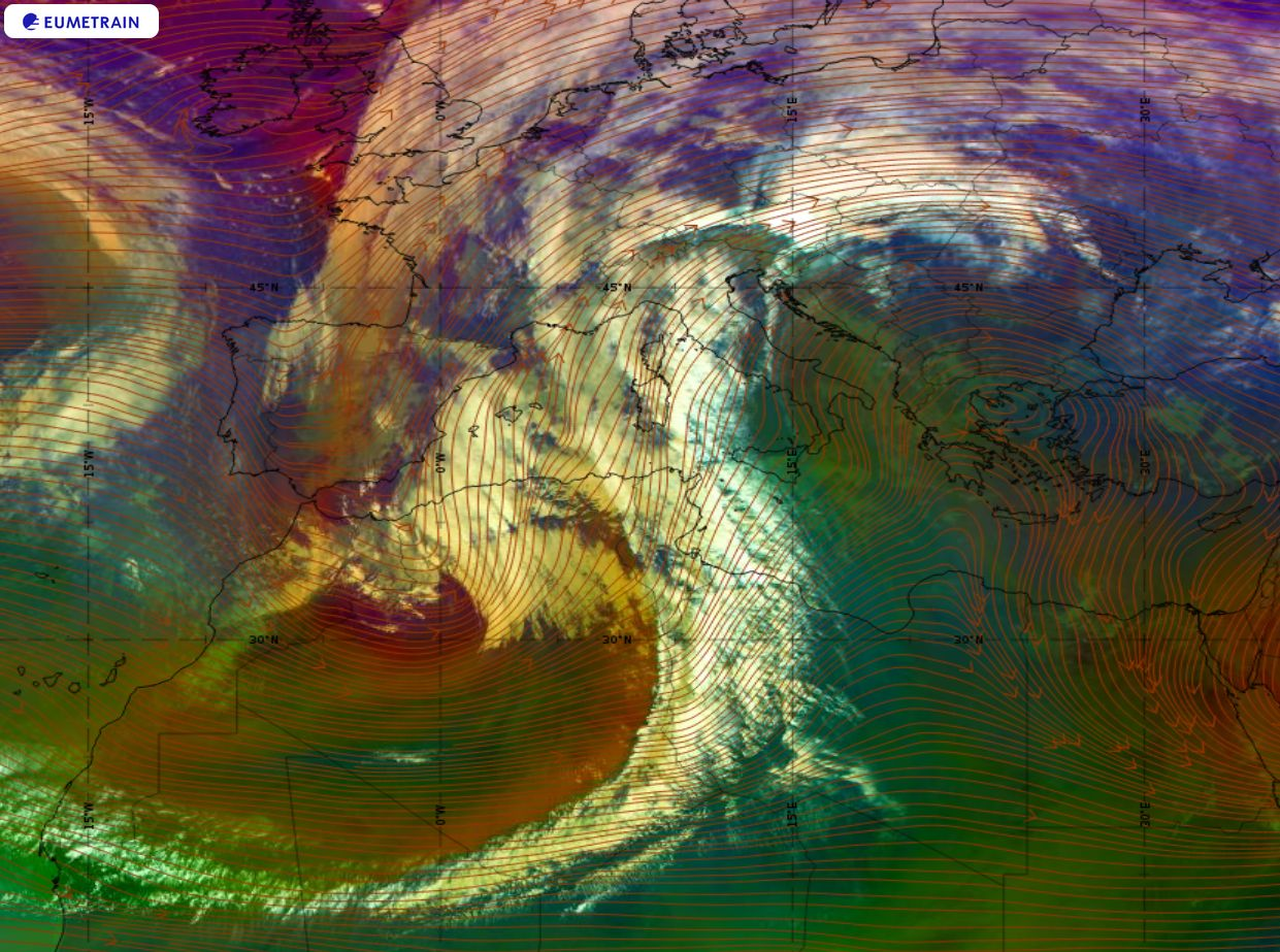 Synoptic overview through Meteosat-11 Airmass RGB product and wind streamlines at 500hPa, 18 December 00:00 UTC.