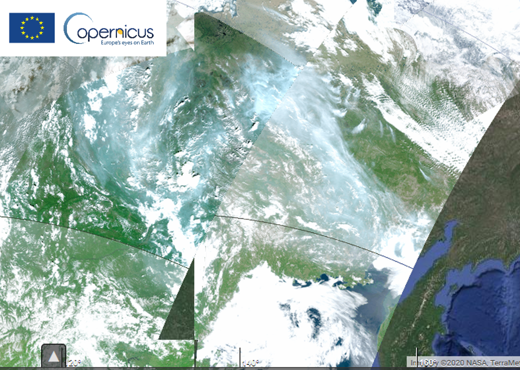 Sentinel-3A & B OLCI RGB, heavy smoke caused by wildfires in Siberia, 27 June 2020.