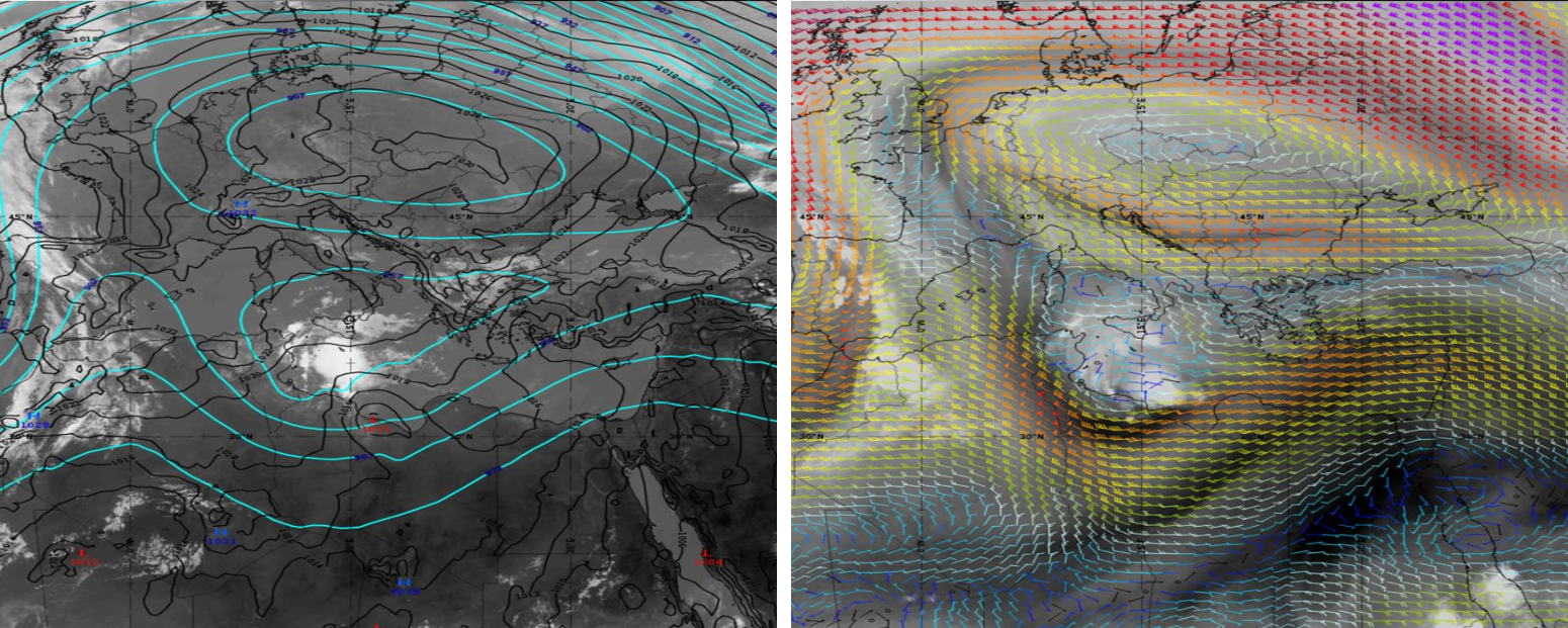 Left: Meteosat-11 IR10.8, 14 September 09:00 UTC, with 500 hPa absolute topography (blue) and Mean Sea Level Pressure (black) overlaid. Right: Meteosat-11 WV6.2, 14 September 18:00 UTC, with 300 hPa wind barbs overlaid