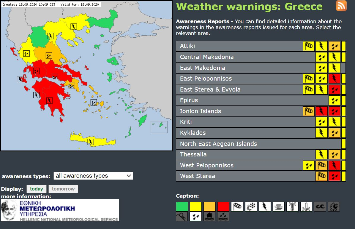 Meteoalarm warnings issued by the Hellenic National Meteorological Service for 18 September