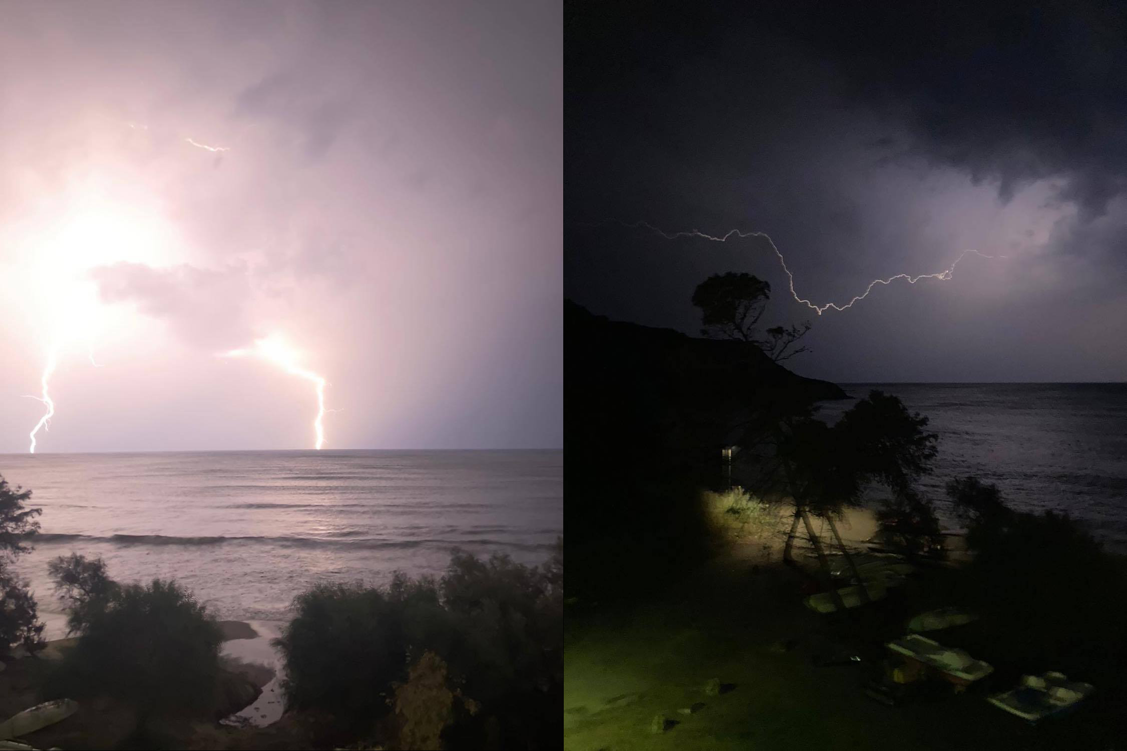 Lightning strikes off the Calabrian coast in the early hours of 17 September. Credit: Caterina Mazzuca