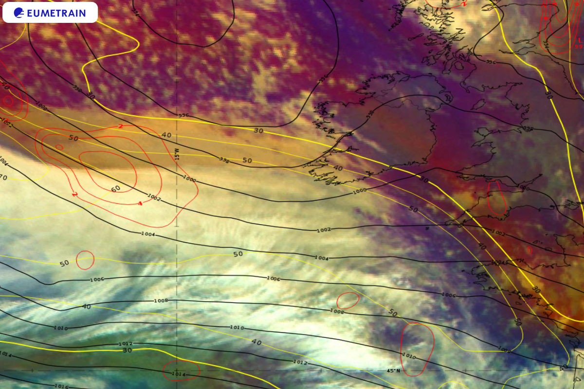 Meteosat-11 Airmass RGB overlaid by ECMWF 300 hPa PVA (red isolines), isotachs (yellow isolines in m/s) and Mean Sea Level Pressure (4 hPa intervals, black isolines), 1 October 06:00 UTC.