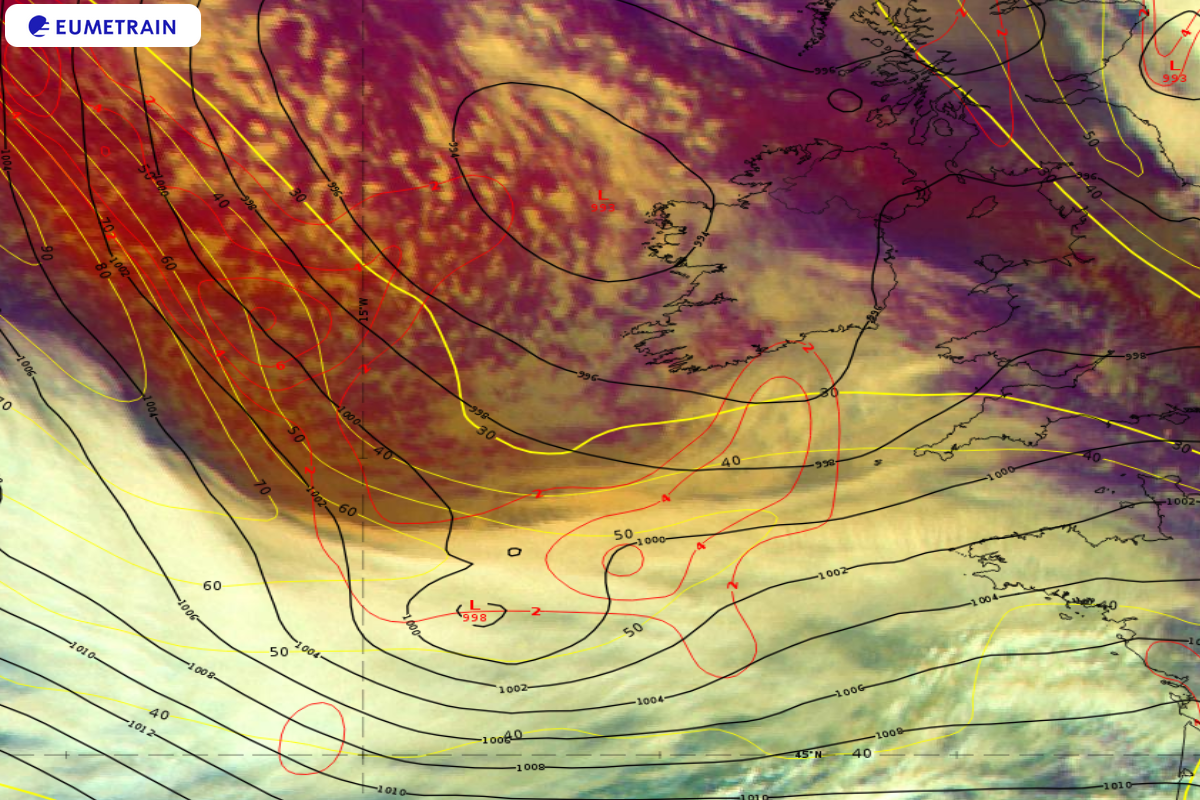 Meteosat-11 Airmass RGB overlaid by ECMWF 300 hPa PVA (red isolines), isotachs (yellow isolines in m/s) and Mean Sea Level Pressure (4 hPa intervals, black isolines), 1 October 12:00 UTC.
