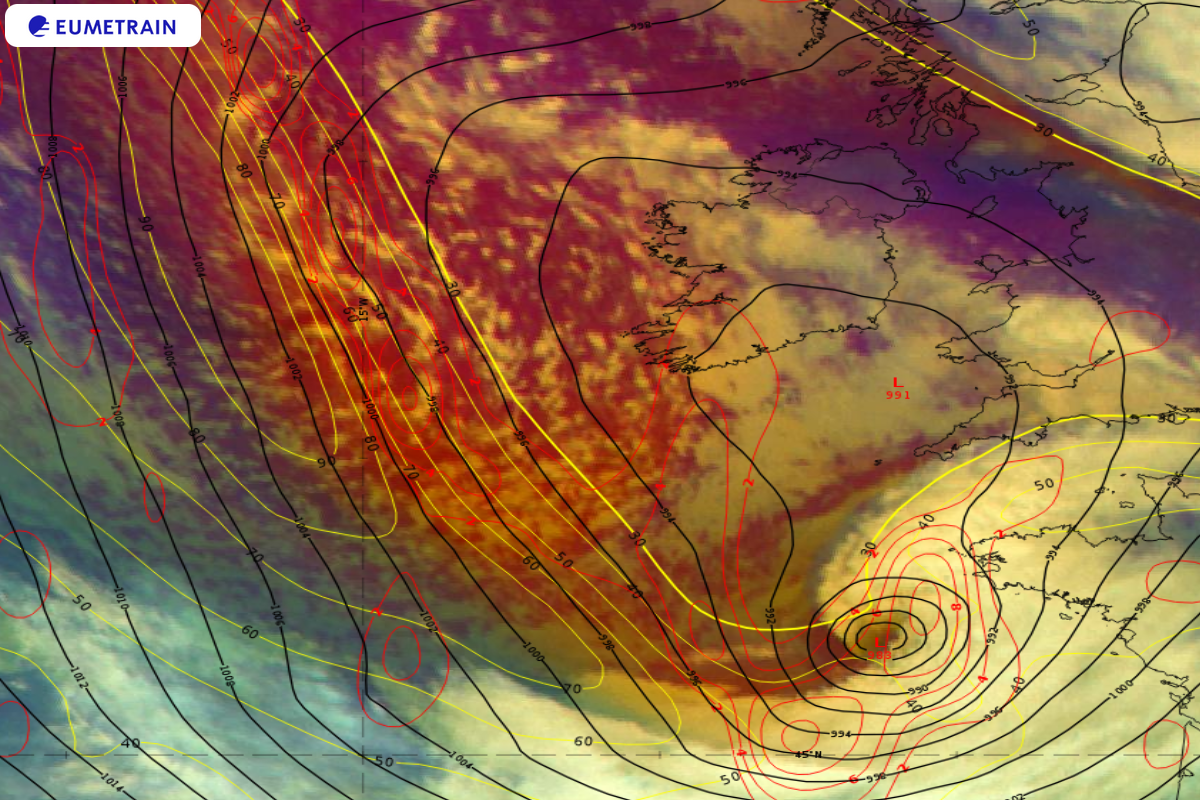 Meteosat-11 Airmass RGB overlaid by ECMWF 300 hPa PVA (red isolines), isotachs (yellow isolines in m/s) and Mean Sea Level Pressure (4 hPa intervals, black isolines), 1 October 18:00 UTC.
