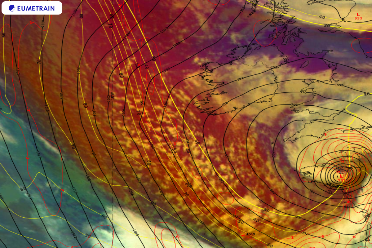 Meteosat-11 Airmass RGB overlaid by ECMWF 300 hPa PVA (red isolines), isotachs (yellow isolines in m/s) and Mean Sea Level Pressure (4 hPa intervals, black isolines), 2 October 00:00 UTC.