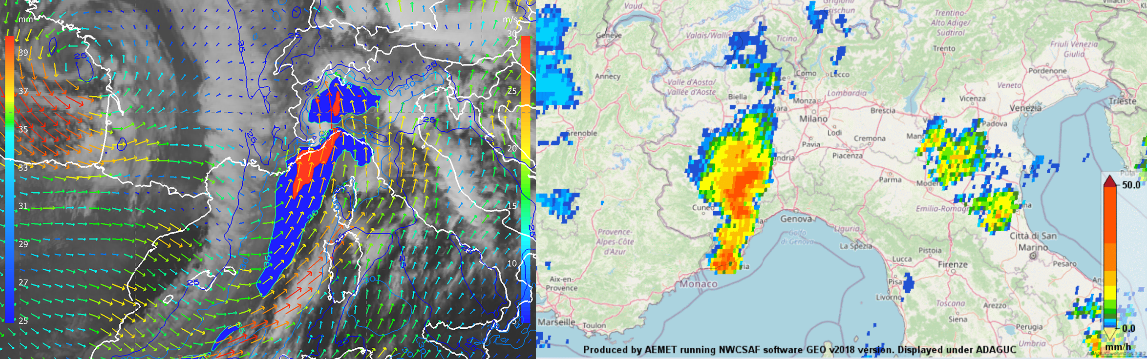 Meteosat-11 IR 10.8 µm overlaid by ECMWF Total Liquid Water product (mm, values over 35 mm colour-shaded) and wind at 850 hPa (coloured arrows in m/s), 2 October 21:00 UTC (left). NWC SAF Convective Rainfall Rate product, 2 October 21:00 UTC (right).