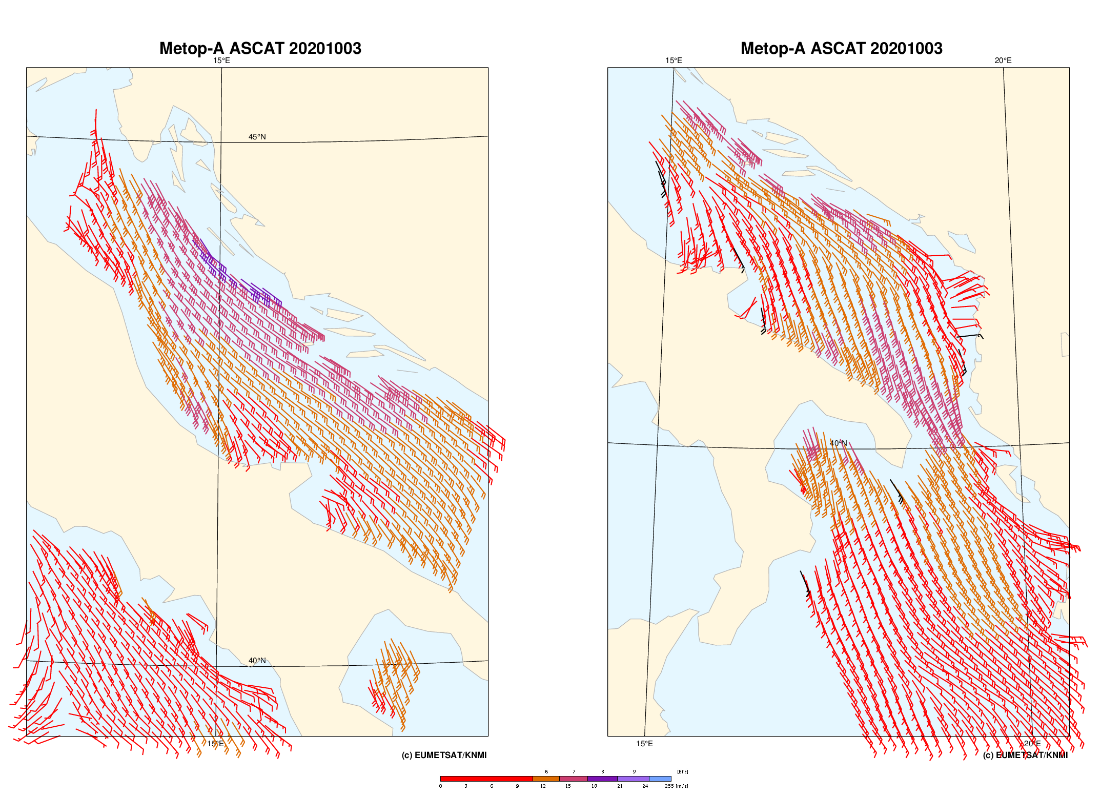 Metop-A ASCAT surface winds, derived by OSI SAF for 3 October 07:57 UTC (left) and 18:03 UTC (right).