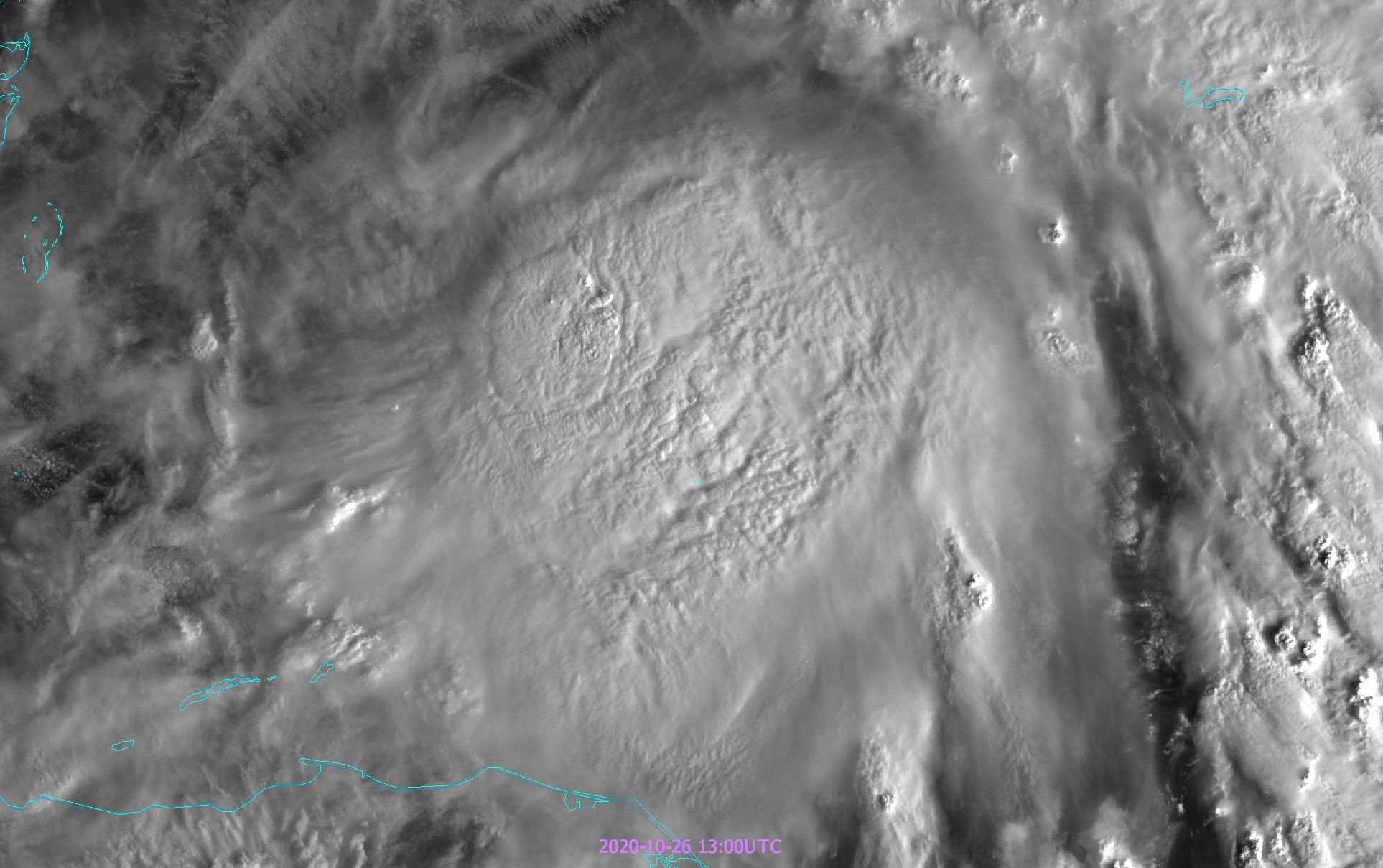 High reaching central clouds of the Zeta hurricane seen through 500 m resolution of GOES-16 ABI VIS0.64 channel
