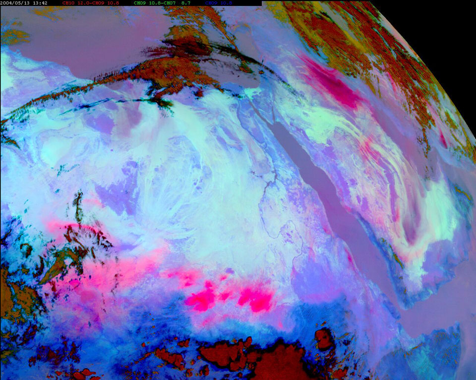 RGB Composite of the dust storms, seen as bright pink areas, 13/5/2004
