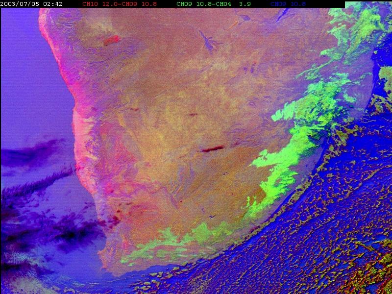 Fog appears as bright green on the RGB IR12.0-IR10.8, IR10.8- IR3.9, IR10.8 image