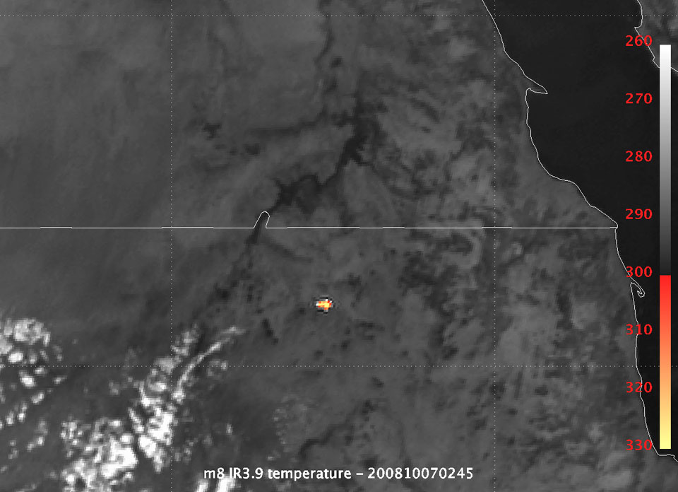 TC3 meteorite seen by Met-8, 7/10/08, 02:45 UTC, IR3.9, colour enhanced