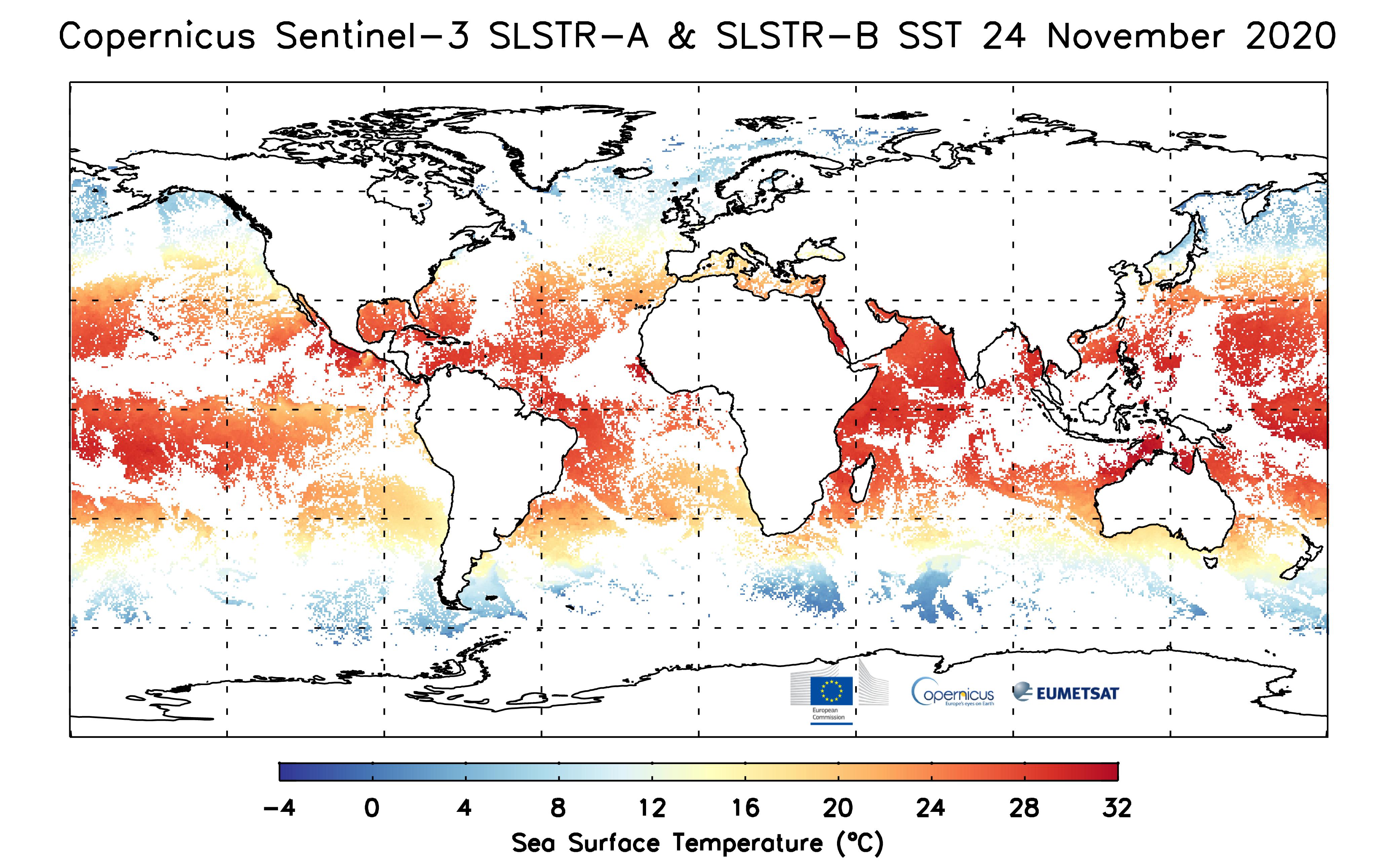 Daily averaged SST from both SLSTR-A and SLSTR-B for 24 November 2020