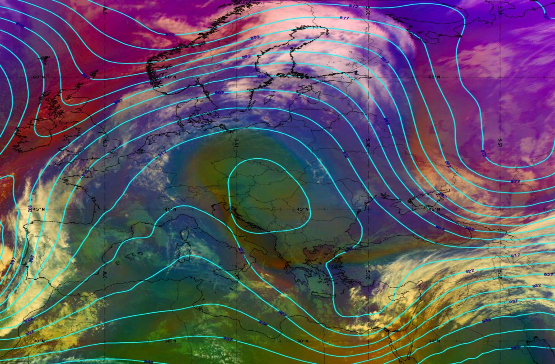 Meteosat-11 Airmass RGB image, overlaid with 300 hPa height, 25 November 2020, 15:00 UTC