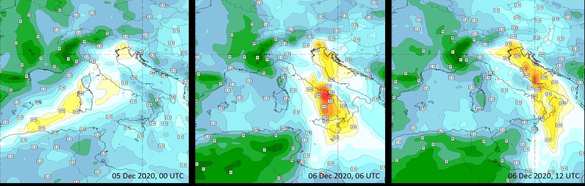 Total Column Water content forecast for 5 Dec 00 UTC, 06 Dec 06 and 12 UTC