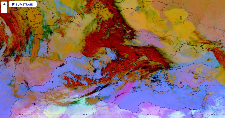 Meteosat-11 DUST RGB image on 09 December 2020, 09 UTC