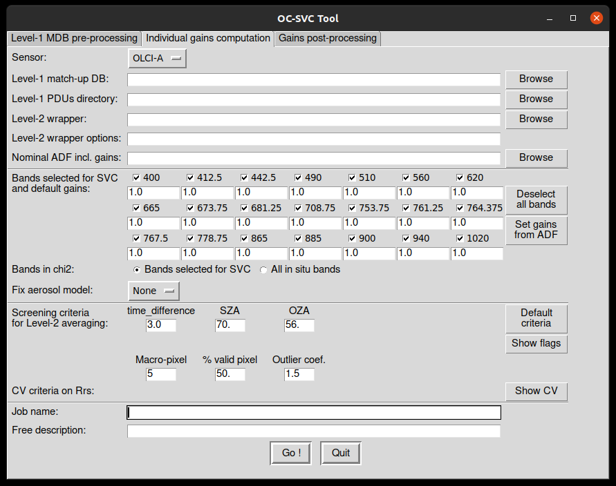 Window of the GUI, opened on the 'Individual gains computation' tab