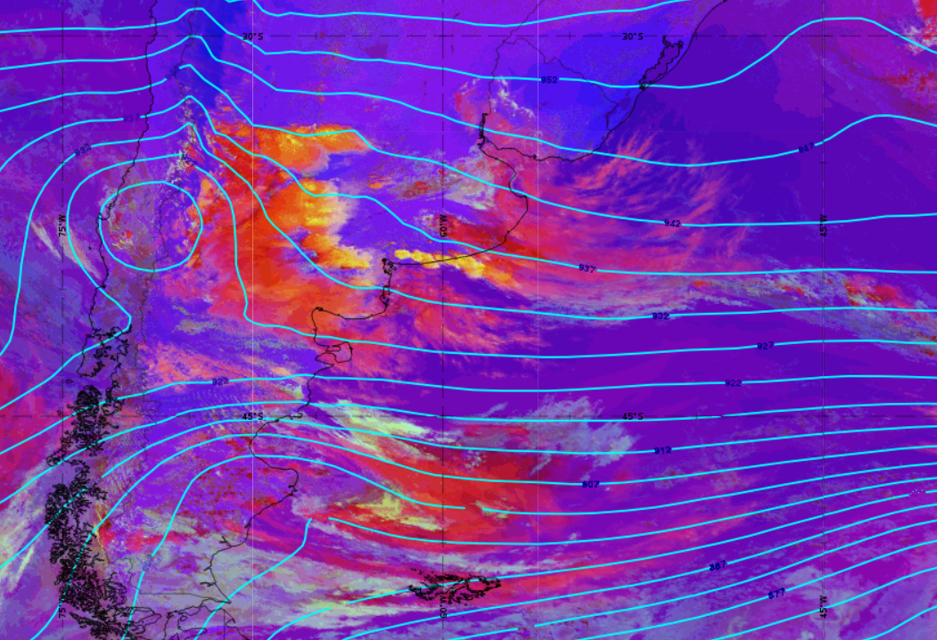 GOES-16 Convection RGB with 300 hPa overlaid, 18 Dec 18UTC