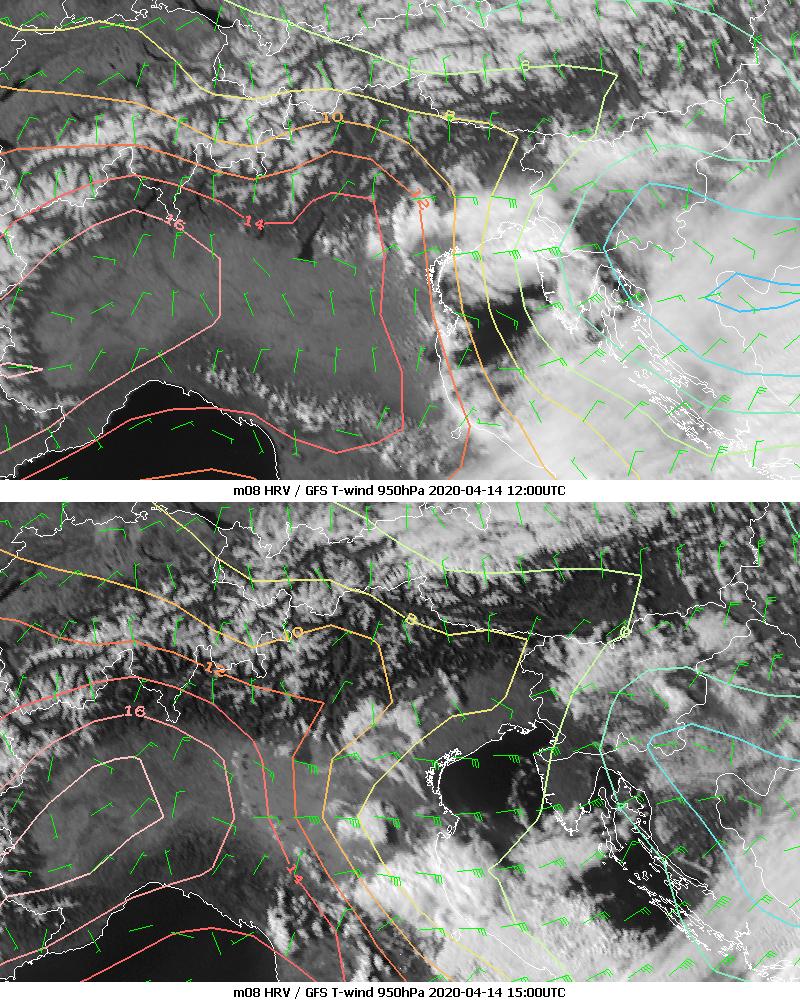 Meteosat-8 HRV with GFS analysis overlaid