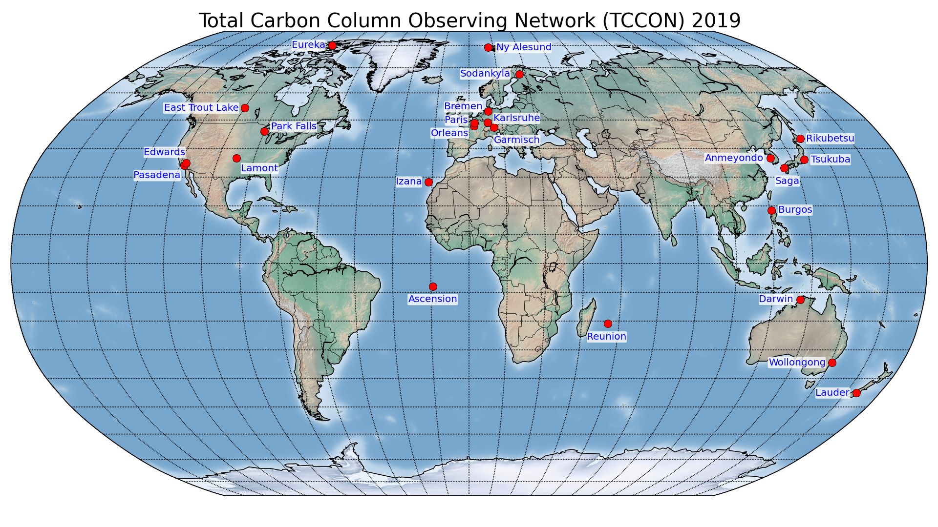Map of the Total Carbon Column Observing Network