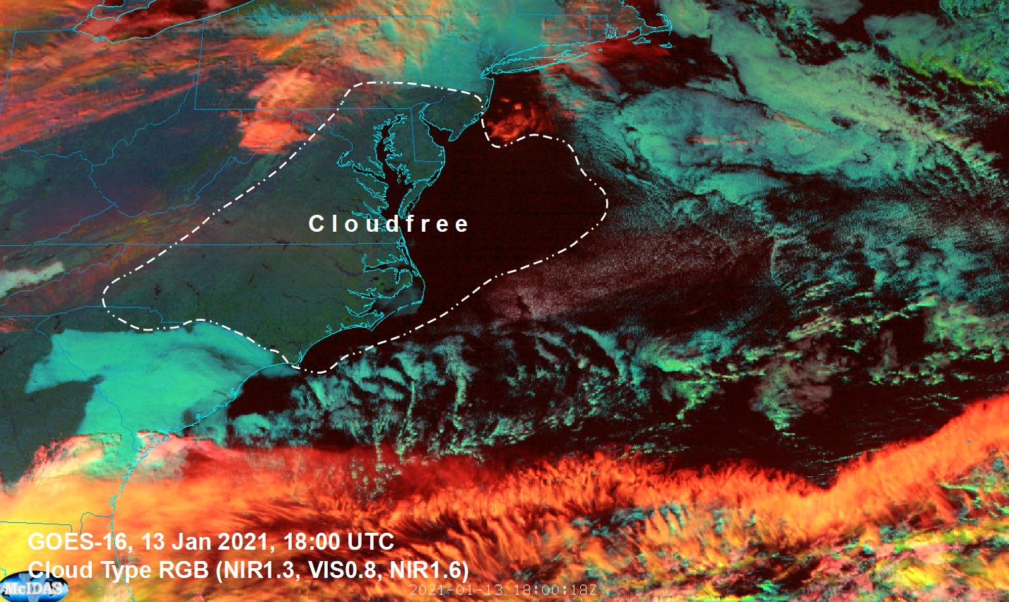 GOES-16 Cloud Type RGB, 13 Jan 2021