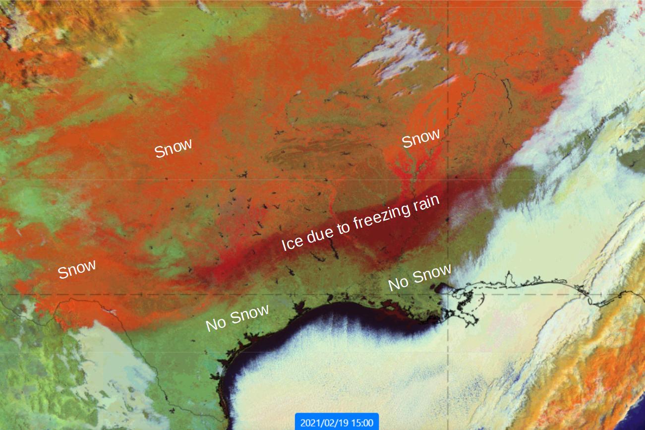 GOES-16 Snow RGB 19 Feb 2021