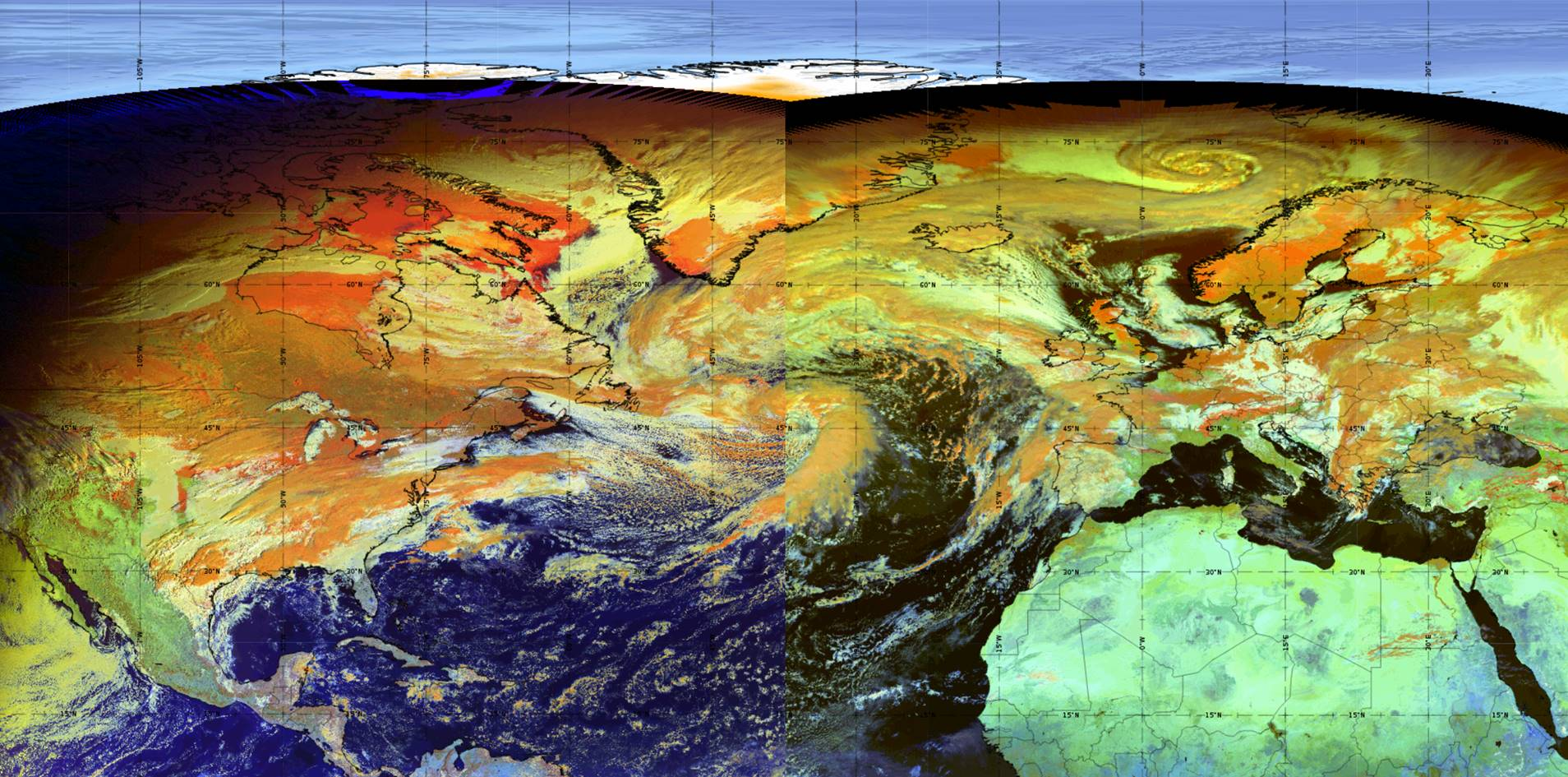 Met-11 and GOES-16 RGB composites
