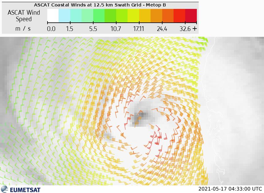 Meteosat-8 IR10.8 image overlaid with Metop-A,B and C ASCAT coastal winds at 12.5 km, 17 May 2021, 04:33 UTC