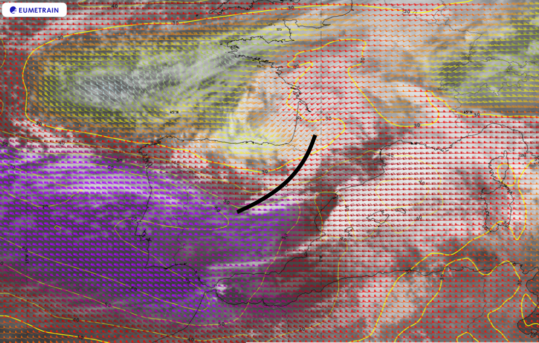 Meteosat-11 SEVIRI 10.8 µm image overlaid with isotachs and wind barbs at 300 hPa, 22 Jan 06:00 UTC