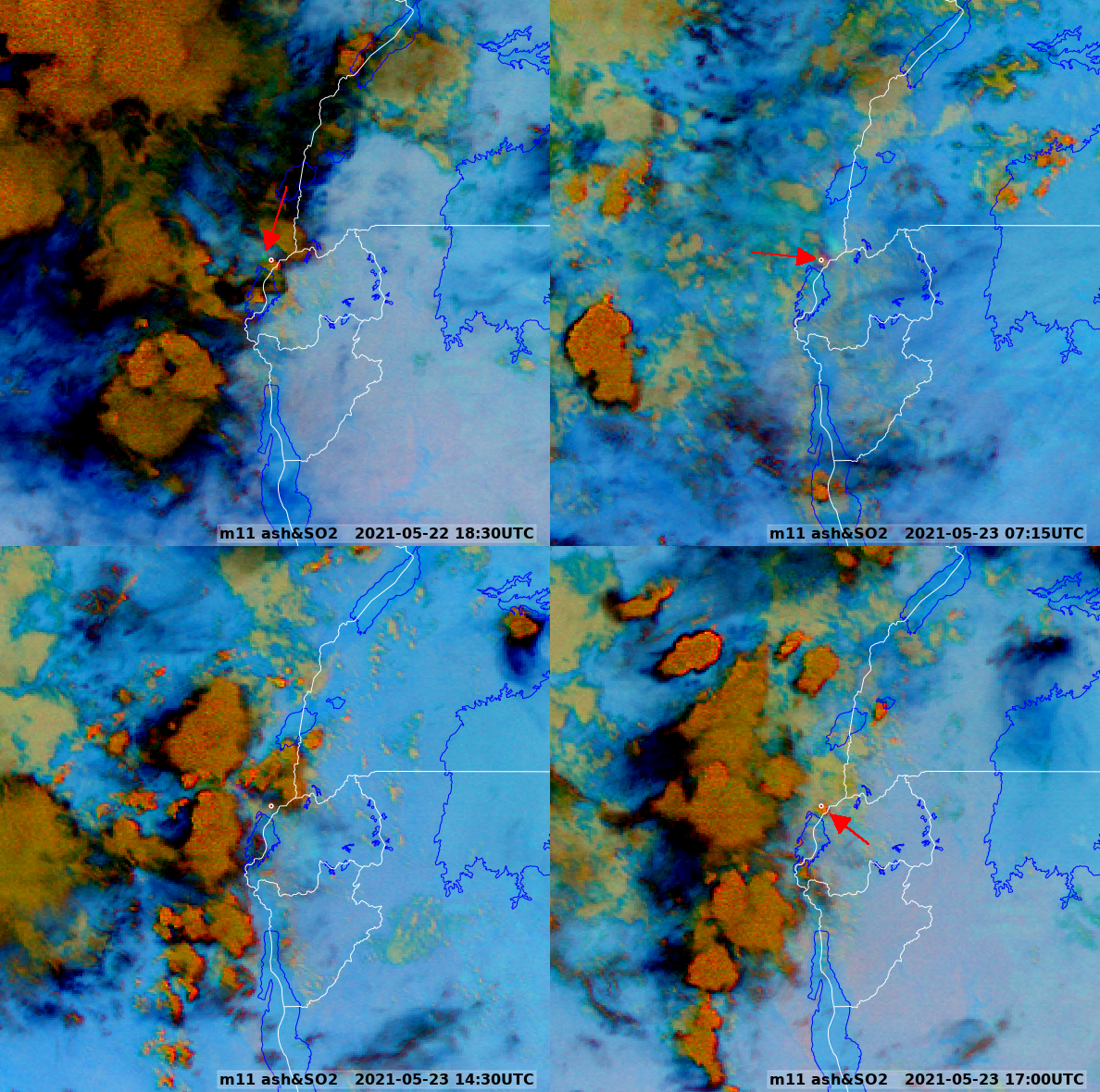 Met-11 Ash & SO2 RGB 22 & 23 May 2021