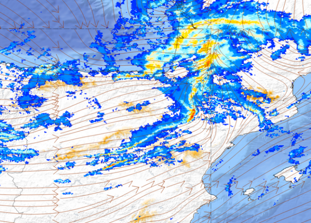 Streamlines (950hPa) and radar product, 22 January 06:00 UTC