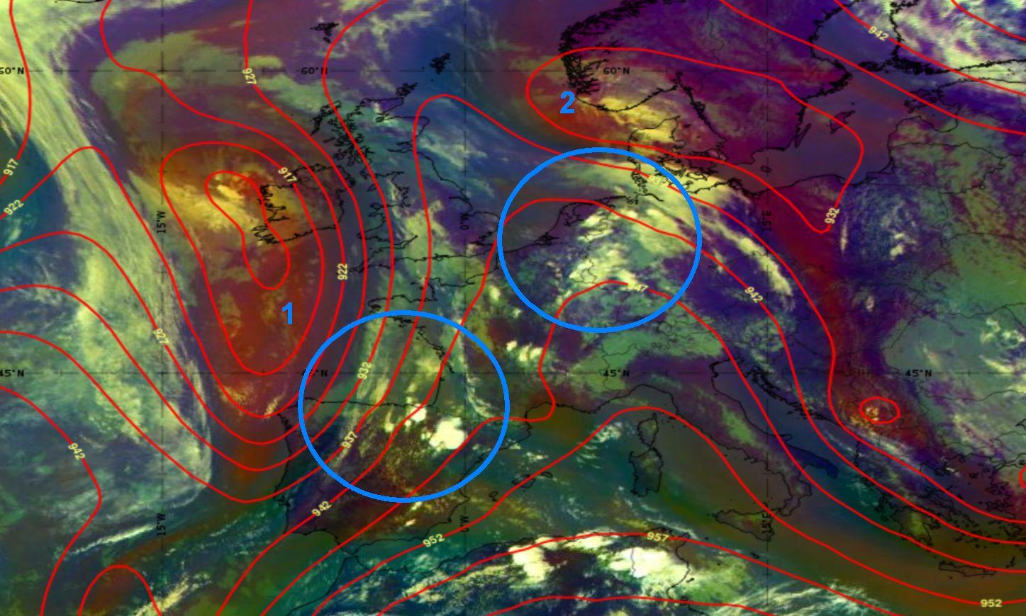 Meteosat-11 Airmass RGB overlaid by ECMWF H300, 3 June 2021