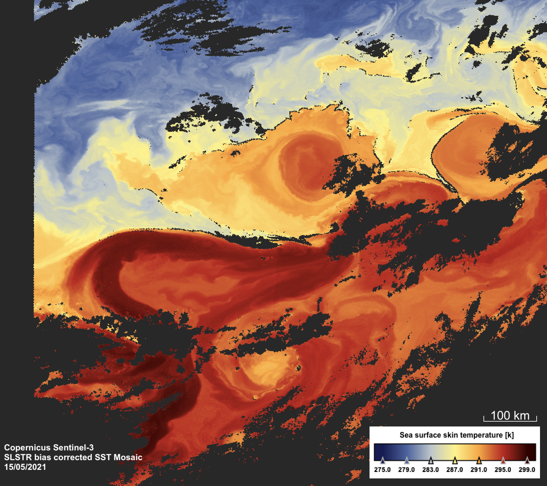 Example SLSTR Nadir view sea surface skin temperature image for the Gulf Stream, 15 May 2021