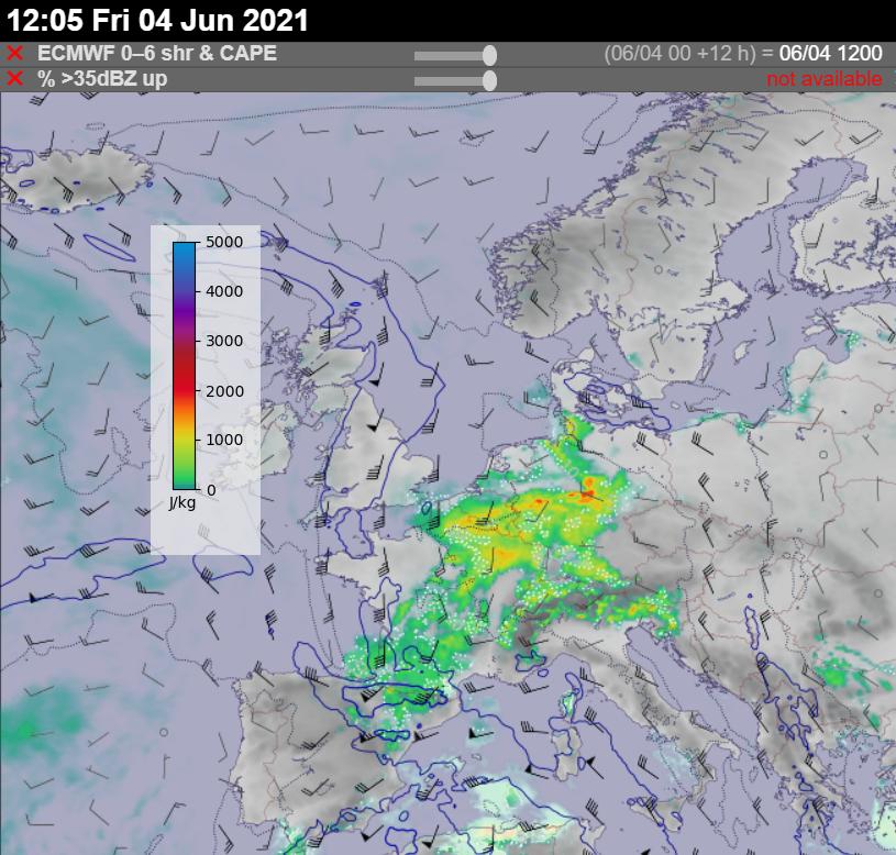 CAPE and wind shear 4 June 2021